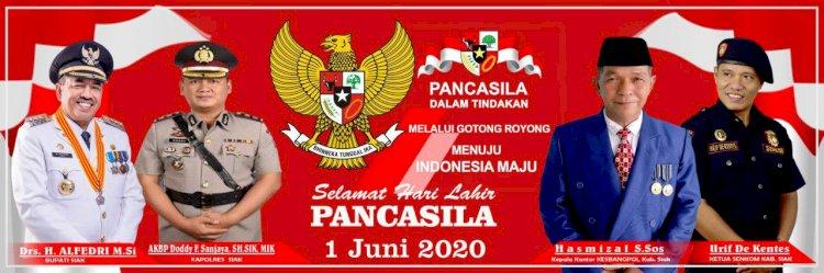 Bupati Siak H.Alfedri M,Si dan Hasmizal S.Sos Kepala Kantor Kesbangpol Siak Sukseskan Hari Lahir Pancasila Situasi Pandemi Covid-19